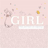Peter Rabbit Gender Reveal It's A Girl Card , Square Size By Moonpig