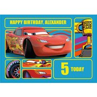 Disney Cars Lightning Mcqueen Personalised Happy Birthday Card, Giant Size By Moonpig