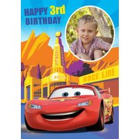 Cars Get To The Race Line Happy Birthday Photo Card, Giant Size By Moonpig