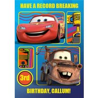 Disney Cars Lightning Mcqueen And Mater Personalised Happy Birthday Card, Large Size By Moonpig