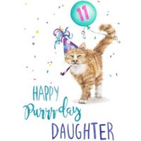 Cute Cat Happy Purrday Daughter Birthday Card, Standard Size By Moonpig