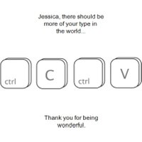 Ctrl C And V Personalised Thank You Card, Standard Size By Moonpig
