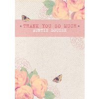 Pink And Peach Flowers Personalised Thank You Card For Aunt, Standard Size By Moonpig