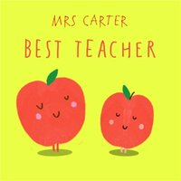 Pair Of Apples Personalised Best Teacher Card, Square Card Size By Moonpig