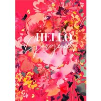 Bright Floral Hello Gorgeous Card, Standard Size By Moonpig