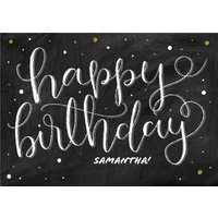 Swirly Black, White And Gold Personalised Happy Birthday Card, Large Size By Moonpig