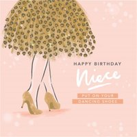Cute Illustration Happy Birthday Niece Put On Your Dancing Shoes Card, Square Card Size By Moonpig
