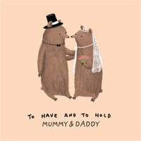To Have And Hold Bear Couple Wedding Card , Large Square Size By Moonpig