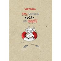 You Totally Float My Goat Personalised Happy Valentine's Day Card, Giant Size By Moonpig