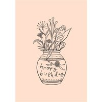 Chloe Turner Happy Birthday Flower Vase Card, Standard Size By Moonpig