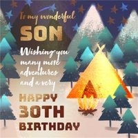 To My Wonderful Son Happy 30th Birthday Card , Large Square Size By Moonpig