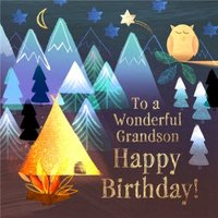 Camping To A Wonderful Grandson Happy Birthday Card, Square Card Size By Moonpig