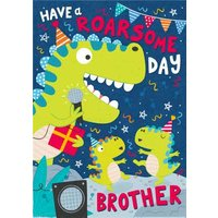 Fun Illustration Design Dinosaur Party Balloons Have A Roarsome Day Birthday Card, Large Size By Moo