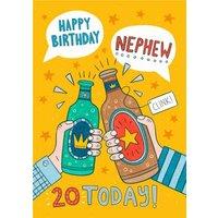 Fun Illustration Typographic Happy Birthday Nephew 20 Today Card, Giant Size By Moonpig