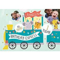 Grandson All Aboard The Birthday Express 1 Today Photo Upload Card, Standard Size By Moonpig