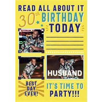 Read All About It Spoof Newspaper Photo Upload Husband Birthday Card, Large Size By Moonpig