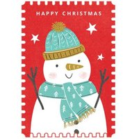 Happy Christmas Snowman Stamp Card, Standard Size By Moonpig