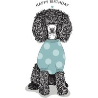 Modern Cute Illustration Poodle In Jumper Birthday Card, Giant Size By Moonpig
