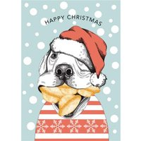Modern Cute Funny Illustration Dog Eating Mince Pies Christmas Card, Large Size By Moonpig
