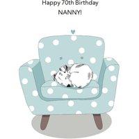 Cute Illustrated Dog On Sofa Nanna 70th Birthday Card, Standard Size By Moonpig