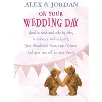 Bears Hand In Personalised Wedding Day Card, Standard Size By Moonpig