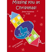 Across The Miles Uk To Australia Personalised Christmas Card, Large Size By Moonpig