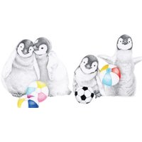 Hand Drawn Penguins And Beach Balls Card, Giant Size By Moonpig