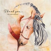 Hand Drawn Horse Thank You For Your Kindness Card, Large Square Card Size By Moonpig