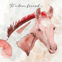 Hand Drawn Horse To A Dear Friend Card, Square Card Size By Moonpig