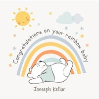 Cute Disney Winnie The Pooh Congratulations Rainbow Baby, Large Square Card Size By Moonpig