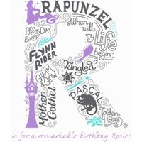 Disney Scribble Rapunzel Personalised Text Card, Large Square Card Size By Moonpig