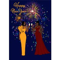 Illustrated Fireworks New Year Card, Standard Size By Moonpig