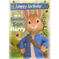 Cute Peter Rabbit To A Special Son Birthday Card, Giant Size By Moonpig