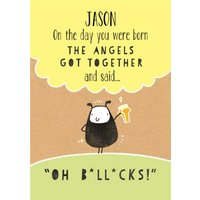 The Angels Got Together Funny Personalised Happy Birthday Card, Large Size By Moonpig
