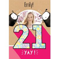 Deeply Sheeply 21st Birthday Photo Upload Card, Giant Size By Moonpig