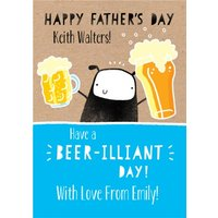 Cute Illustration Of A Sheep Holding Beers Beer Illiant Day Personalised Fathers Card