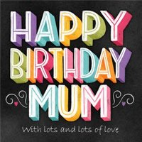 Happy Birthday Mum Chalkboard Chalk Lettering Typographic Card, Large Square Card Size By Moonpig