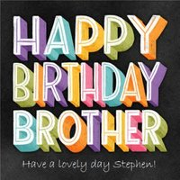 Happy Birthday Brothe RChalkboard Chalk Lettering Typographic Card, Square Card Size By Moonpig
