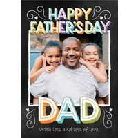 Typographic Chalkboard Photo Upload Father's Day Card , Large Size By Moonpig