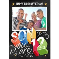 Photo Upload Happy 12 Birthday Son Card, Giant Size By Moonpig