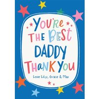 Modern Fun Text And Stars Personalise Name Thank You Daddy Card, Large Size By Moonpig