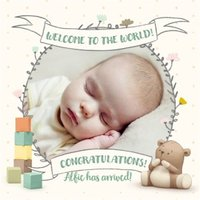Cute New Baby Photo Upload Card, Square Card Size By Moonpig