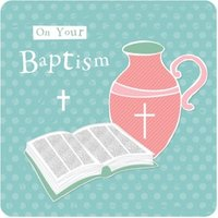 On Your Baptism Cross Holy Water Bible Card, Large Square Card Size By Moonpig