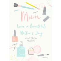 Illustrated Beauty Products Have A Beautiful Mother's Day Card, Standard Size By Moonpig