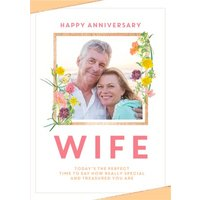 Traditional Anniversary Photo Upload Card For Your Wife - Really Special And Treasured, Large Size B