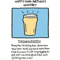 What A Deep, Manly Voice Personalised Happy Man-Birthday Card, Giant Size By Moonpig