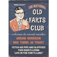 Retro Old Farts Club Personalised Birthday Card, Giant Size By Moonpig