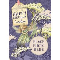 Fairies In The Garden Personalised And Photo Birthday Card, Giant Size By Moonpig