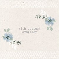 Cream And Blue Flower Personalised With Deepest Sympathy Card, Large Square Card Size By Moonpig