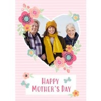 Striped And Flower Design Happy Mothers Day Photo Card, Large Size By Moonpig
